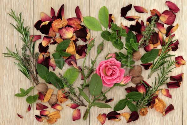 Photo stock: Amour · ingrédients · herbe · rose · fleur · utilisé