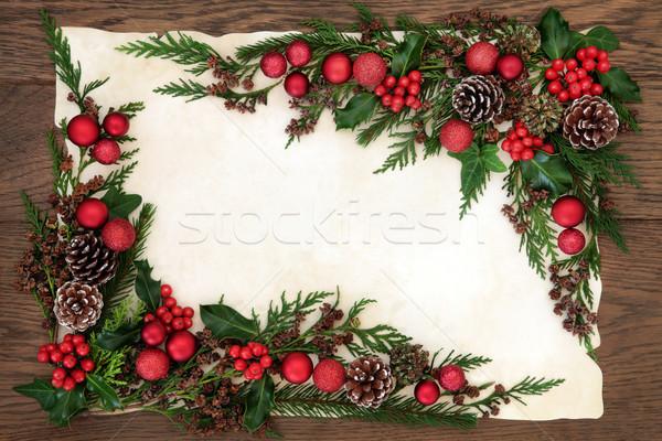 国境 オーク クリスマス 赤 安物の宝石 ストックフォト © marilyna