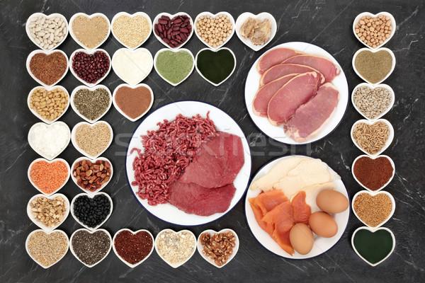 Stockfoto: Gezondheid · voedsel · lichaam · bouwers · groot