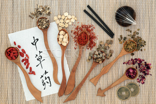 Tradicional chino hierbas acupuntura agujas utilizado Foto stock © marilyna