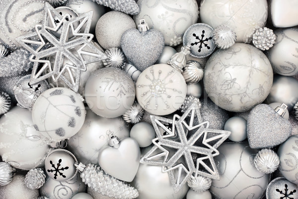 Prata branco natal bugiganga decorações abstrato Foto stock © marilyna