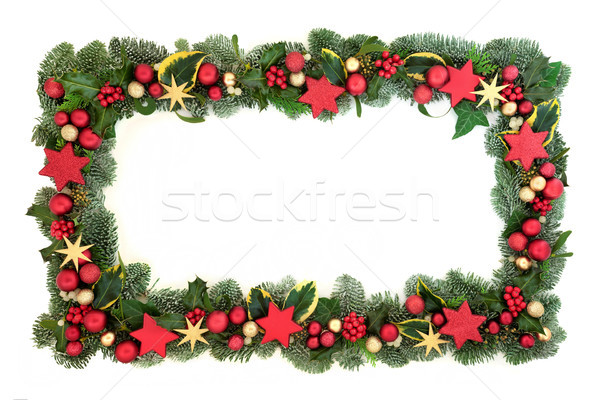 Stockfoto: Decoratief · christmas · grens · Rood · goud · star