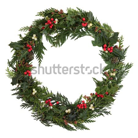 Foto stock: Natal · coroa · decorativo · hera · visco · cedro