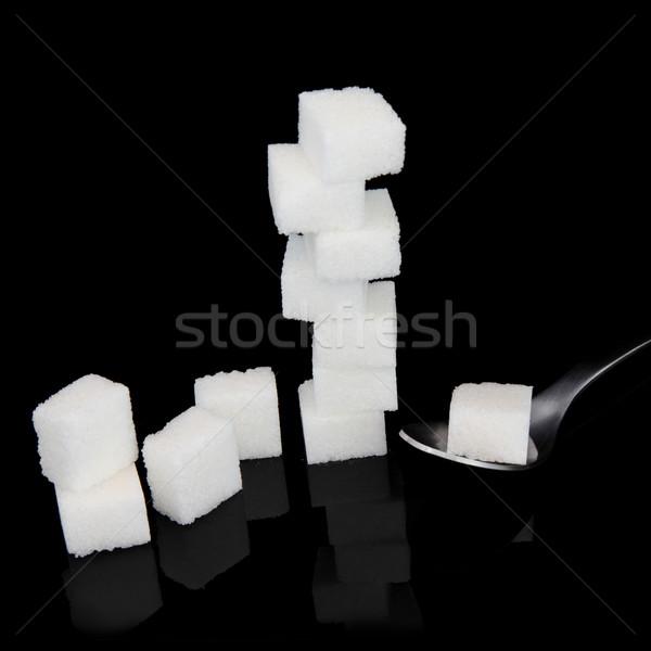 Azúcar blanco terrones de azúcar cuchara cubo Foto stock © marilyna