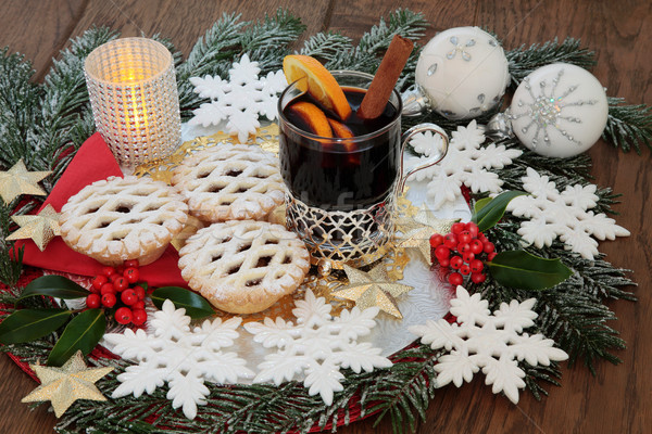 Christmas Mince Pies and Mulled Wine Stock photo © marilyna