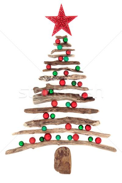 Troncos árvore de natal estrela vermelho verde bugiganga Foto stock © marilyna