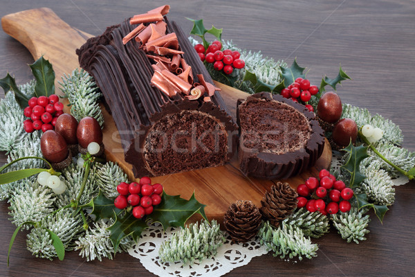 Chocolate Yule Log Cake Stock photo © marilyna