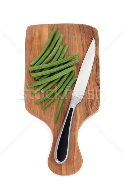 Groene bonen groene bonen groenten olijfolie hout Stockfoto © marilyna
