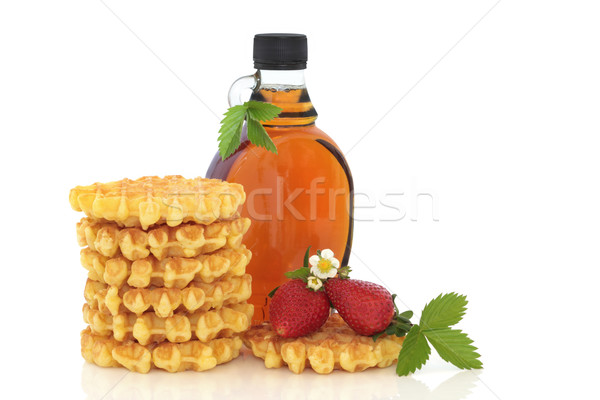 Strawberry Waffles and Maple Syrup Stock photo © marilyna