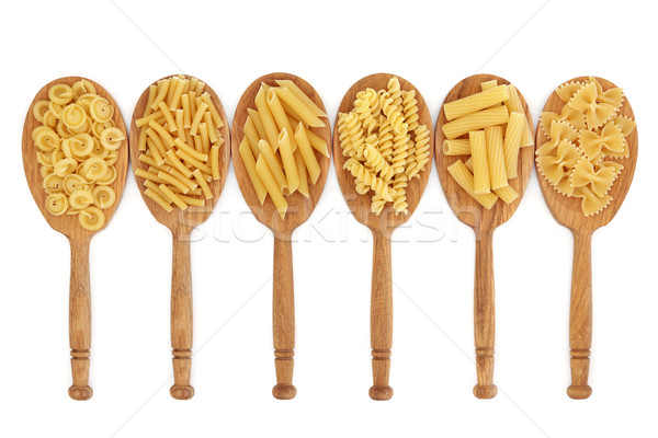 Pasta in Oak Spoons Stock photo © marilyna