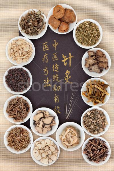 Acupuntura medicina alternativa agujas chino caligrafía Foto stock © marilyna
