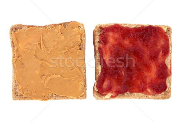 Burro di arachidi gelatina lampone jam rosolare Foto d'archivio © marilyna