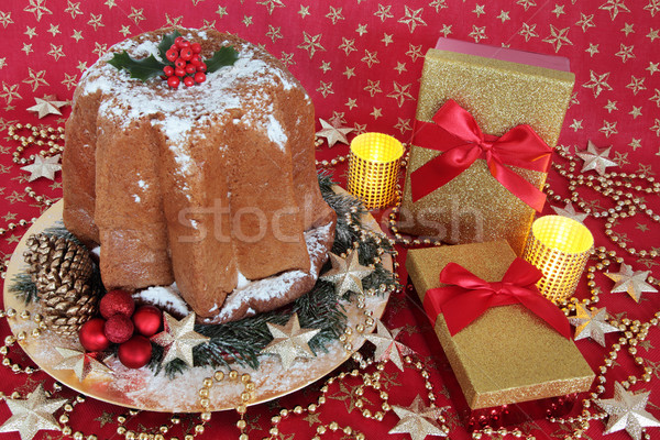 Pandoro Cake and Christmas Gifts Stock photo © marilyna