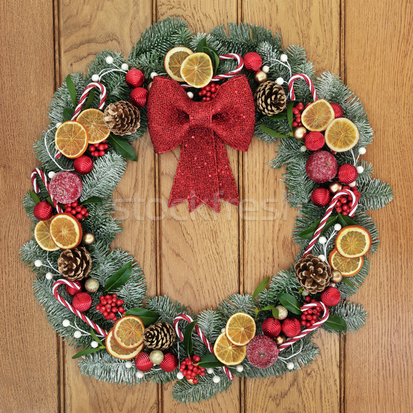 Christmas decoratief krans Rood boeg decoratie Stockfoto © marilyna