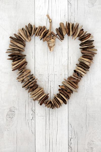Rustykalny driftwood serca biały drewna tekstury Zdjęcia stock © marilyna