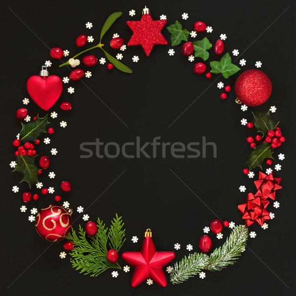 Résumé Noël couronne guirlande hiver flore Photo stock © marilyna