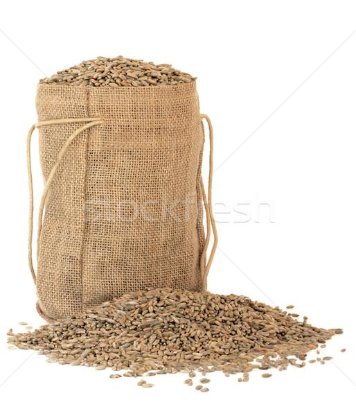 Rozs gabona zsák fehér étel háttér Stock fotó © marilyna