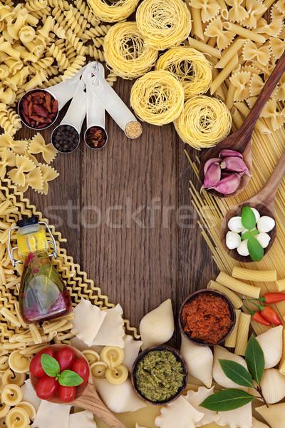 итальянской кухни Ингредиенты пасты трава Spice оливкового масла Сток-фото © marilyna