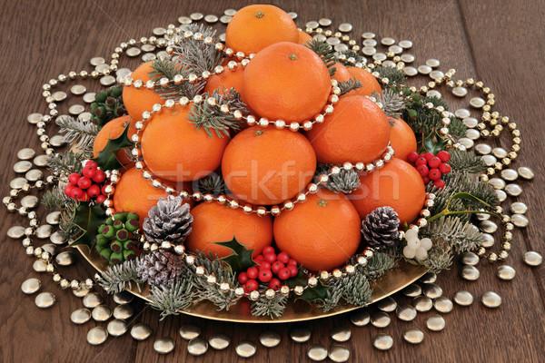 Stok fotoğraf: Noel · meyve · turuncu · meyve · altın · boncuk