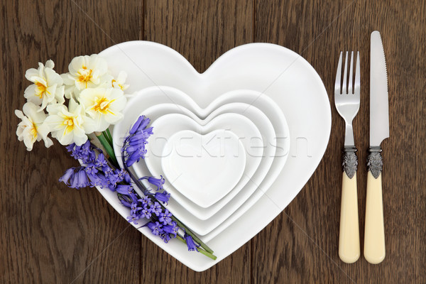 Floral Place Setting on Oak Stock photo © marilyna