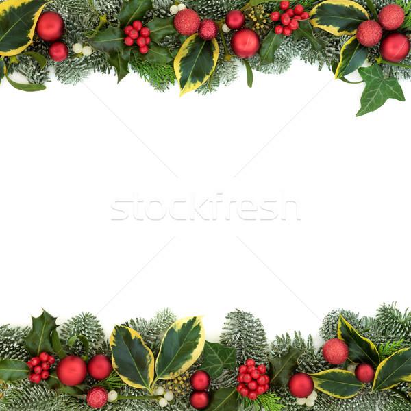 Stockfoto: Christmas · feestelijk · grens · Rood · snuisterij · decoraties