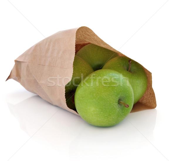 Nagyi almák zöld barna papír táska izolált Stock fotó © marilyna