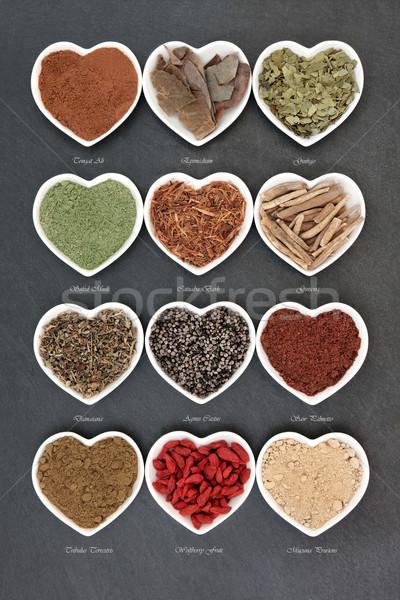 Gyógynövények egészség gyógynövény használt természetes alternatív Stock fotó © marilyna