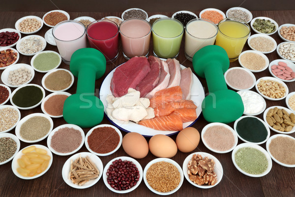 Health Food and Drinks for Body Builders Stock photo © marilyna