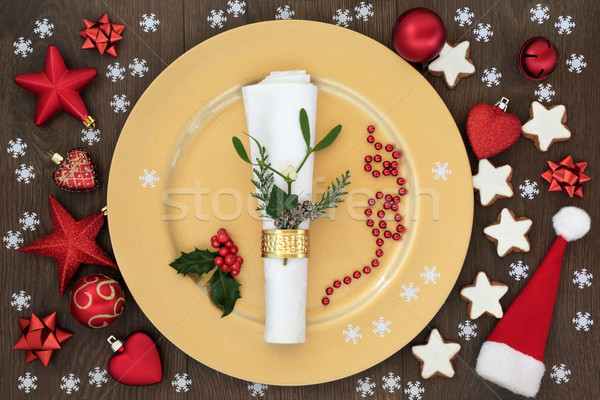 Christmas Dinner Table Setting Stock photo © marilyna