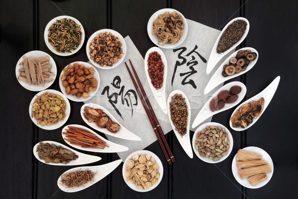 Инь-Ян травы китайский каллиграфия сценария Сток-фото © marilyna