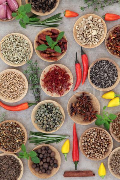Stockfoto: Specerijen · kruiden · Spice · kruid · collectie · houten