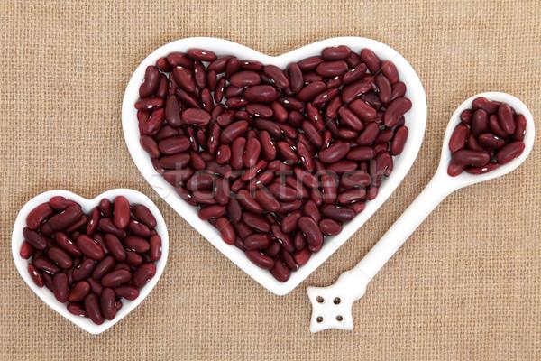 Rene fagioli cuore porcellana piatti Foto d'archivio © marilyna
