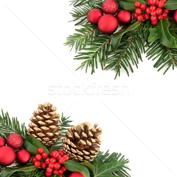 Christmas Flora and Bauble Border Stock photo © marilyna