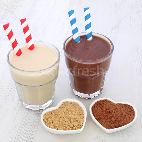 Maca Root Herb and Chocolate Whey Protein Drinks Stock photo © marilyna