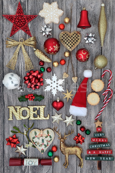 Christmas Noel Sign and Decorations Stock photo © marilyna