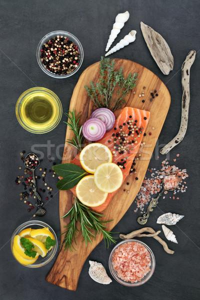 Gezond hart voedsel vers zalm vis Stockfoto © marilyna
