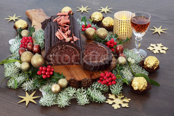 Chocolat Noël gâteau hiver flore décorations Photo stock © marilyna