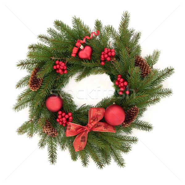 Foto d'archivio: Natale · ghirlanda · abete · rosso · pino · rosso