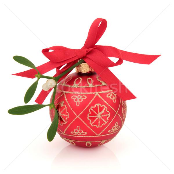 Mistel Spielerei Weihnachten rot Gold glitter Stock foto © marilyna
