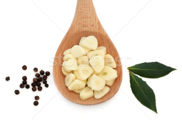 étel öntet fokhagyma szeletel fakanál borsszem Stock fotó © marilyna