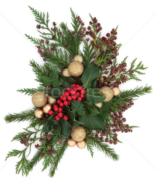 Christmas flora goud snuisterij decoraties klimop Stockfoto © marilyna