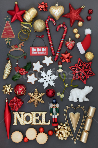 Noel Sign with Christmas Decorations Stock photo © marilyna