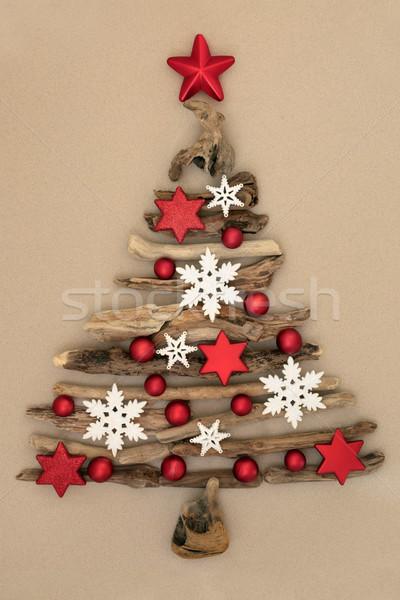 Natal troncos árvore abstrato branco flocos de neve Foto stock © marilyna