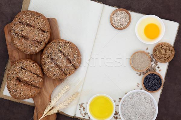 Kahverengi malzemeler un maya yumurta Stok fotoğraf © marilyna