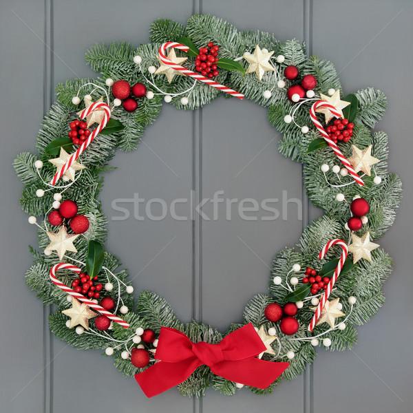 приход Рождества венок украшение конфеты красный Сток-фото © marilyna