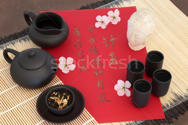 Cinese tè medicina alternativa usato fiore di ciliegio Foto d'archivio © marilyna
