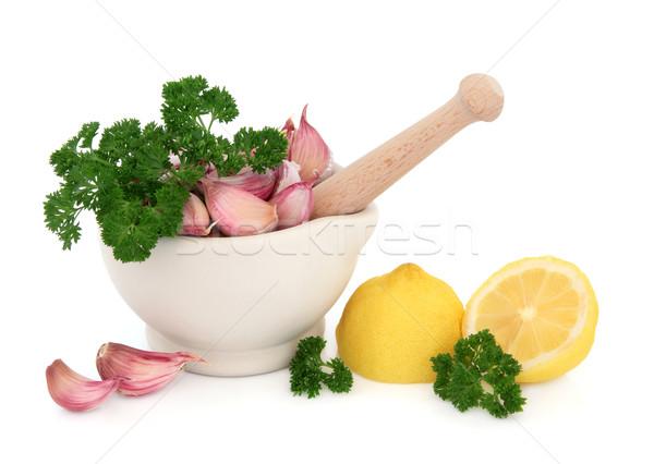 Alimenti freschi ingredienti aglio prezzemolo erbe pietra Foto d'archivio © marilyna