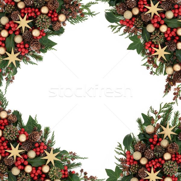 Złota cacko granicy christmas star dekoracje Zdjęcia stock © marilyna