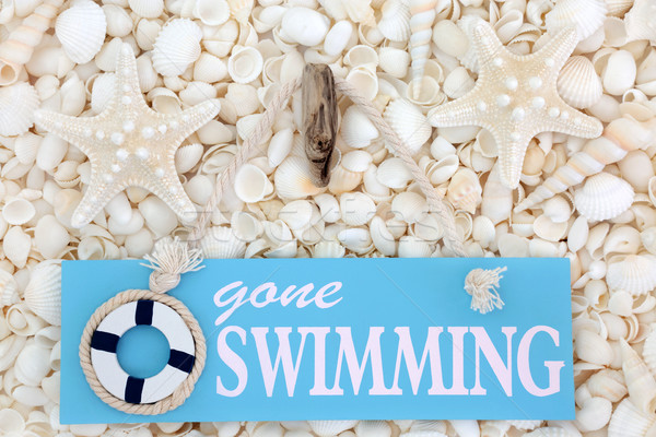 Gone Swimming Sign and Seashells Stock photo © marilyna