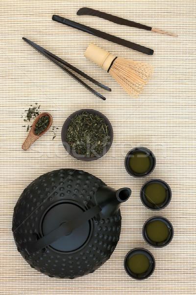 Japán tea szertartás zöld tea teáskanna csészék Stock fotó © marilyna